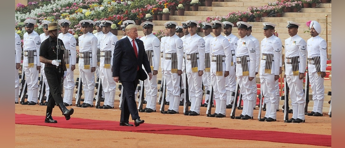 Donald J. Trump, President of United States of America inspects Guard of Honour during Ceremonial Welcome at Rashtrapati Bhawan, New Delhi