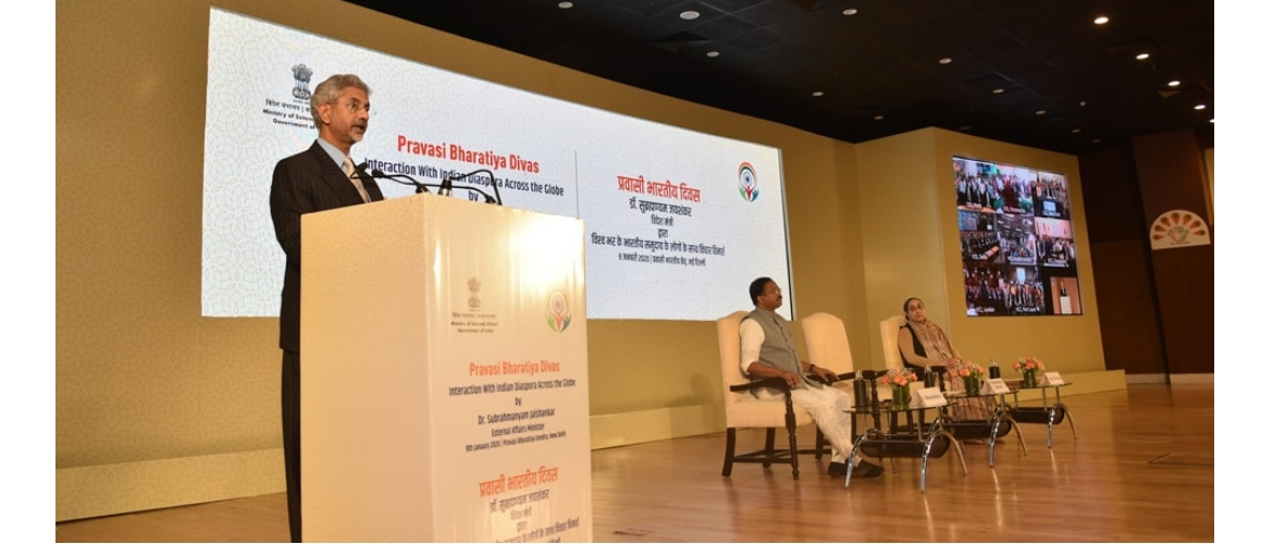 External Affairs Minister delivers his address at Pravasi Bharatiya Divas 2020 in New Delhi<br/> January 09, 2020 / Photo Courtesy: Hemant Joshi