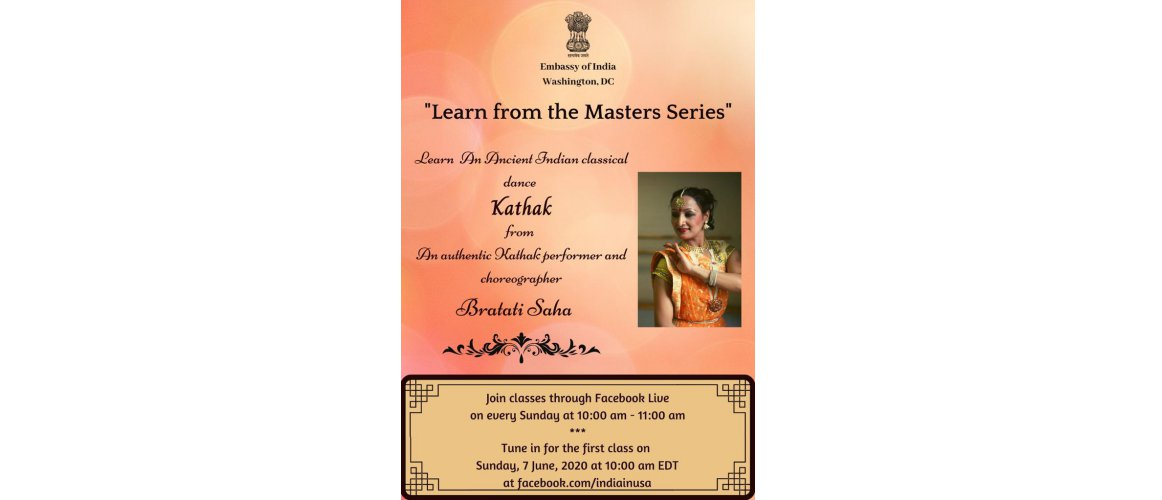 Every Sunday learn from home, Ancient Indian Classical Dance Kathak from an authentic Kathak performer and choreographer Smt. Bratati Saha, as part of our 'Learn from the Masters Series'. Tune in for the first class on Sunday, June 7, 2020, at 10 AM EDT at https://facebook.com/indiainusa.