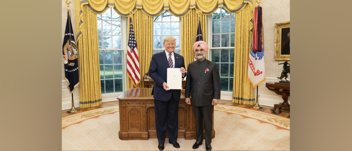 Press Release - Ambassador Taranjit Singh Sandhu presented his Credentials to President of the United States of America, H.E. Mr. Donald Trump