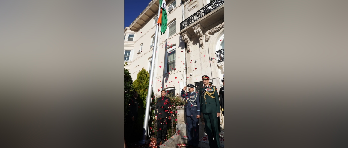 Charge d'Affaires Ambassador Amit Kumar hoisted the National Flag followed by singing of the National Anthem during the celebration of the 71st Republic Day of India.