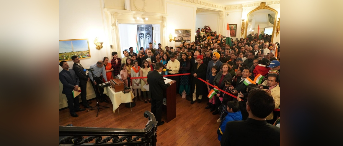 Charge d'Affaires Ambassador Amit Kumar addressed the gathering and read out the address of the President of India delivered on the eve of the Republic Day.